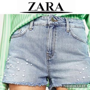 Zara pearl denim / jeans shorts